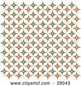 Vector Clip Art of Retro Background of Orange and Green Diamond Patterned Wallpaper by KJ Pargeter