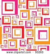 Vector Clip Art of Retro Background of Pink and Orange Squares on White by Arena Creative