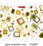Vector Clip Art of Retro Background of Scattered Squares on White by BNP Design Studio