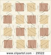 Vector Clip Art of Retro Background of Tan and Brown Squares in Rows with Scribbles by KJ Pargeter