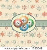 Vector Clip Art of Retro Background with Bingo Balls in a Ribbon Label over Snowflakes by Elaineitalia