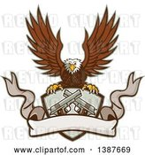 Vector Clip Art of Retro Bald Eagle Flying with a Shield of Crossed 1911 Pistols and a Blank Ribbon Banner by Patrimonio