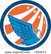 Vector Clip Art of Retro Bald Eagle in a Star and Stripes Circle by Patrimonio