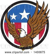 Vector Clip Art of Retro Bald Eagle Landing in an American Flag Circle by Patrimonio