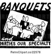 Vector Clip Art of Retro Banquets and Parties Our Specialty Food Service Sign by BestVector