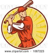 Vector Clip Art of Retro Baseball Player Batting over Rays by Patrimonio