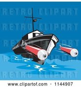Vector Clip Art of Retro Battleship Launching Torpedoes by Patrimonio