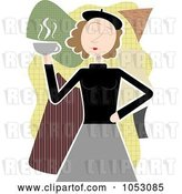 Vector Clip Art of Retro Beatnik Lady Holding Coffee by Mheld