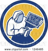 Vector Clip Art of Retro Beekeeper Smoking out a Hive by Patrimonio