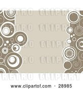 Vector Clip Art of Retro Beige Background Bordered by Circles of Brown and White on the Sides by KJ Pargeter