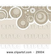 Vector Clip Art of Retro Beige Background Bordered by White and Brown Circles at the Top by KJ Pargeter