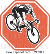 Vector Clip Art of Retro Bicyclist on a Stop Sign Logo by Patrimonio