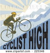 Vector Clip Art of Retro Bicyclist Riding up a Cyclist High Hillside by Patrimonio