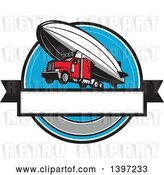 Vector Clip Art of Retro Big Rig Truck Flying, Attached to a Zeppelin Blimp by Patrimonio