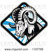 Vector Clip Art of Retro Bighorn Sheep in a Diamond of Blue Rays by Patrimonio