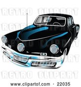 Vector Clip Art of Retro Black 1948 Tucker Car with a Chrome Bumper and Details by Andy Nortnik