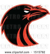Vector Clip Art of Retro Black and Red Raven Head in Profile by Patrimonio