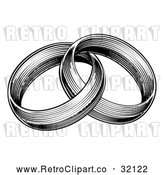 Vector Clip Art of Retro Black and White Entwined Wedding Rings by AtStockIllustration