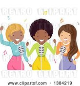 Vector Clip Art of Retro Black Female Musician and Backup Singers by BNP Design Studio