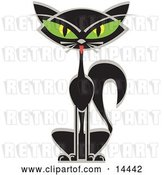 Vector Clip Art of Retro Black Siamese Cat with Big Green Eyes by Andy Nortnik