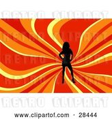 Vector Clip Art of Retro Black Silhouetted Lady Posing over a Wavy Red, Orange and Yellow Background by KJ Pargeter