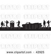 Vector Clip Art of Retro Black Silhouetted Scene of Men Dancing Around a Jukebox and Convertible Cadillac by Dennis Holmes Designs