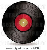 Vector Clip Art of Retro Black Vinyl Record with a Blank Red Label by Michaeltravers
