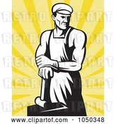 Vector Clip Art of Retro Blacksmith over Yellow Rays by Patrimonio