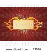 Vector Clip Art of Retro Blank Floral Text Box with Orange Ribbons and Grunge on a Red Burst by Anja Kaiser