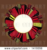 Vector Clip Art of Retro Blank White Round Frame Encircled with Red Black and Yellow Skyscrapers over Brown with Dots by Elaineitalia