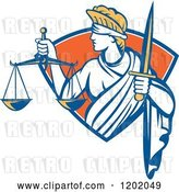Vector Clip Art of Retro Blindfolded Lady Justice with a Sword and Scale in a Crest Shield by Patrimonio