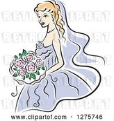 Vector Clip Art of Retro Blond Bride in a Periwinkle Dress, with Pink Flowers by Vector Tradition SM