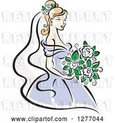 Vector Clip Art of Retro Blond Bride in a Periwinkle Dress, with White Flowers by Vector Tradition SM