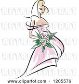 Vector Clip Art of Retro Blond Bride in a Pink Dress 2 by Vector Tradition SM