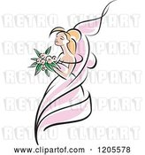 Vector Clip Art of Retro Blond Bride in a Pink Dress 3 by Vector Tradition SM