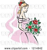 Vector Clip Art of Retro Blond Bride in a Pink Dress 4 by Vector Tradition SM