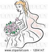 Vector Clip Art of Retro Blond Bride with Pink Flowers 3 by Vector Tradition SM