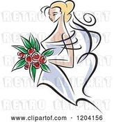 Vector Clip Art of Retro Blond Bride with Red Flowers by Vector Tradition SM