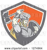 Vector Clip Art of Retro Blond Male Viking Warrior Swinging an Axe in a Gray Taupe White and Orange Shield by Patrimonio
