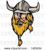 Vector Clip Art of Retro Blond Male Viking Wearing a Helmet by Patrimonio