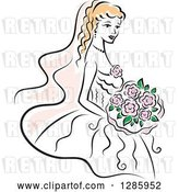 Vector Clip Art of Retro Blond White Bride with a Bouquet of Pink Flowers by Vector Tradition SM