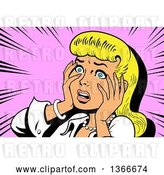 Vector Clip Art of Retro Blond White Dramatic Lady Touching Her Face and Looking Shocked, over Pink by Clip Art Mascots