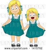 Vector Clip Art of Retro Blond White Girl and Little Sister in Matching Dresses by BNP Design Studio