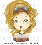 Vector Clip Art of Retro Blond White Steampunk Lady by BNP Design Studio