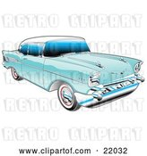 Vector Clip Art of Retro Blue 1957 Chevy Bel Air Car with a White Roof and Chrome Detailing by Andy Nortnik
