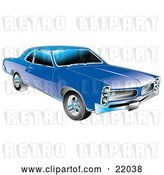 Vector Clip Art of Retro Blue 1966 Pontiac GTO Muscle Car with Crhome Detailing on the Front End and Around the Windows by Andy Nortnik