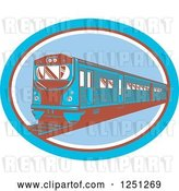 Vector Clip Art of Retro Blue and Brown Train in an Oval by Patrimonio