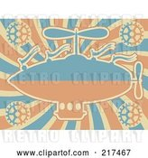 Vector Clip Art of Retro Blue and Orange Airship with Gears on Swirls by Mheld
