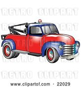 Vector Clip Art of Retro Blue and Red 1953 Chevy Tow Truck with a Light on Top of the Roof by Andy Nortnik