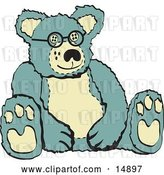 Vector Clip Art of Retro Blue and Tan Stuffed Teddy Bear Wearing Glasses by Andy Nortnik